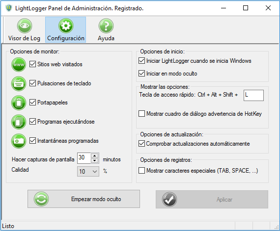 LightLogger Keylogger - Software de Monitoreo